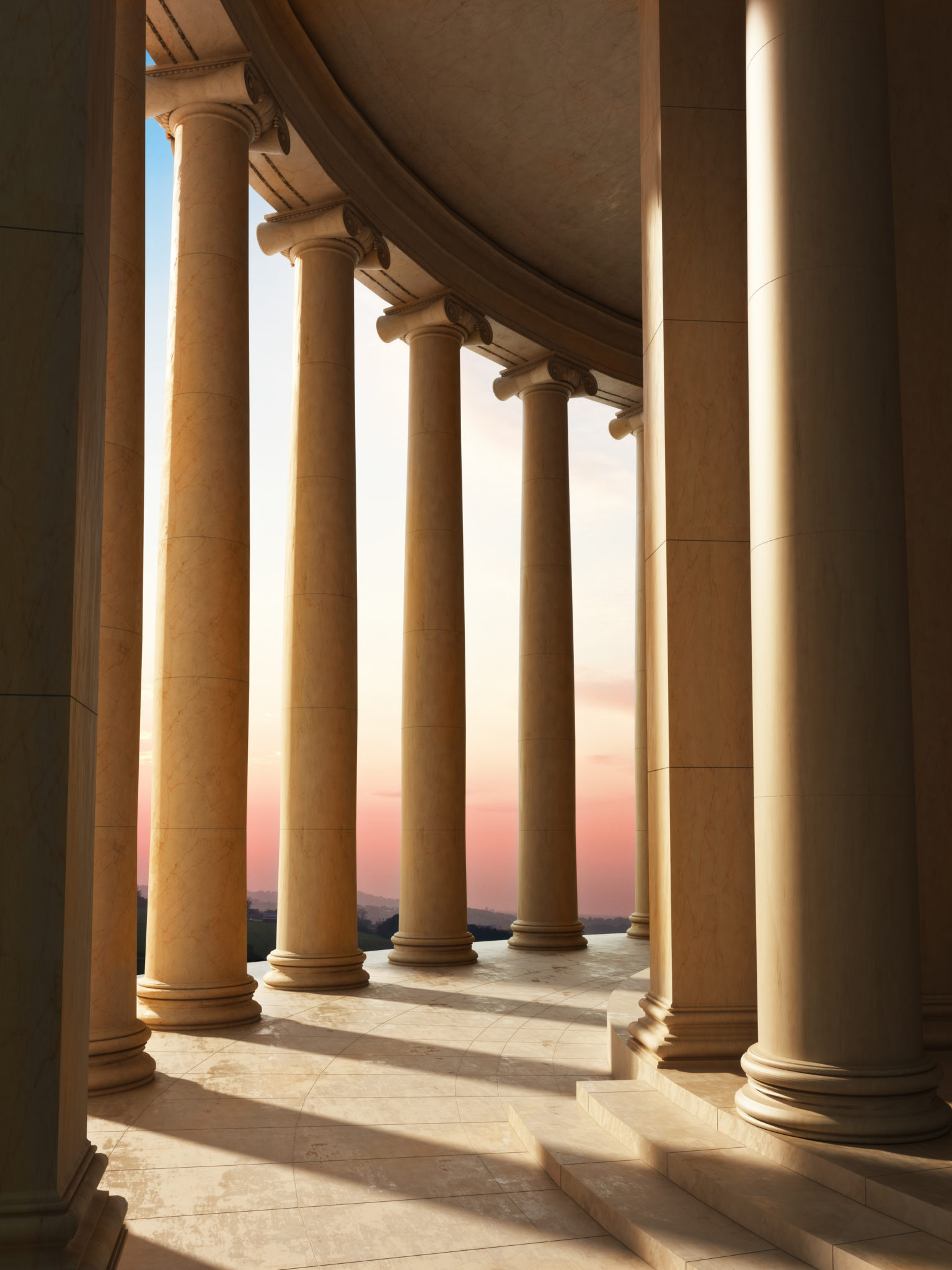 Column architecture with a sunset background